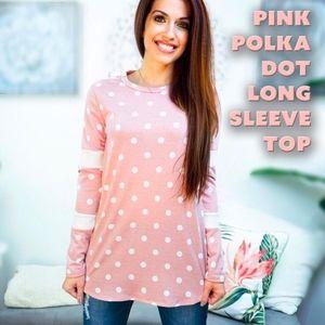 Pink Polka Dot Long Sleeve Top